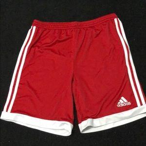 Adidas boys XL SHORTS RED WHITE stripes ATHLETIC